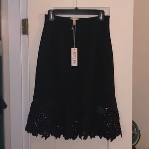 Rebecca Taylor, pique skirt with lace hem detail.